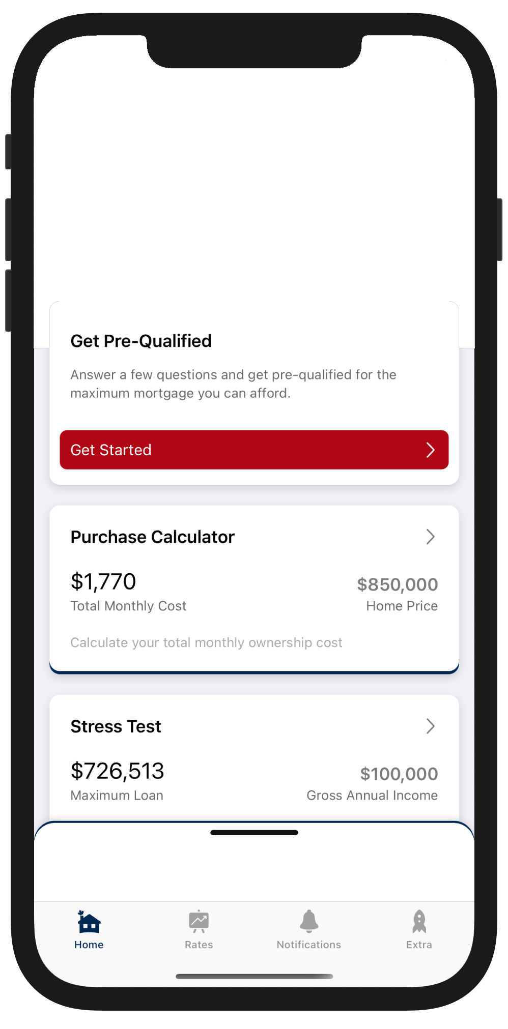 Canadian Mortgage App content preview